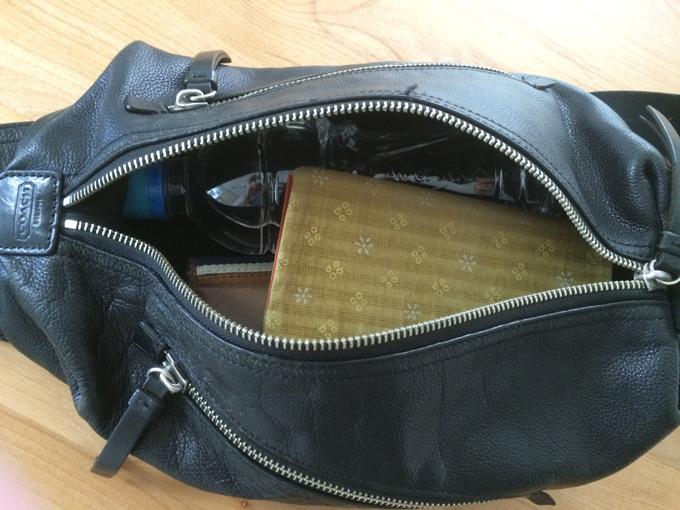 長財布、文庫本、ペットボトルは余裕