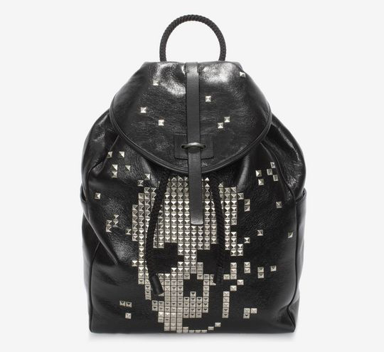 BLACK CALF LEATHER BACKPACK WITH STUDDED SKULL FRONT