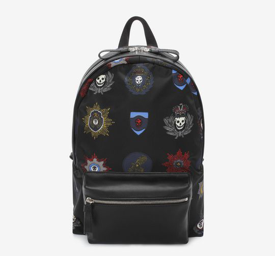 BLACK NYLON AND LEATHER SKULL BACKPACK WITH BADGES