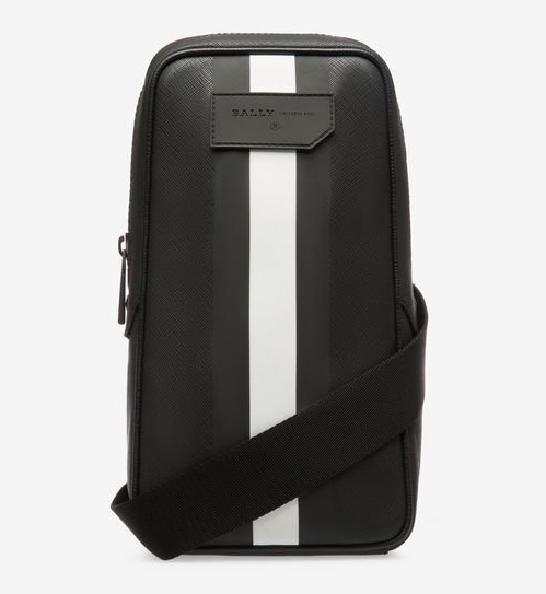 TANIS メンズ ブラック シンセティック スリングバッグ