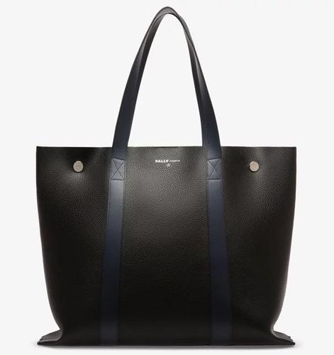 DOUBLE M メンズ ブラック&インクブルー スプリットボヴィンレザー トートバッグ