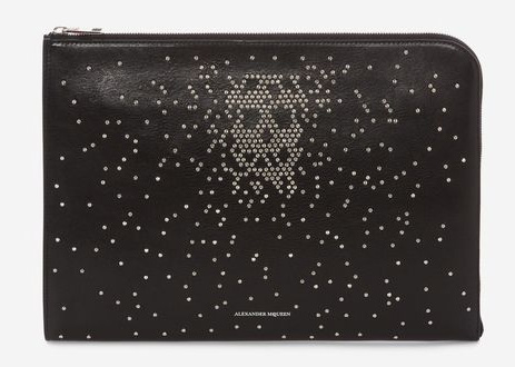 STUDDED LEATHER HALF-ZIP POUCH