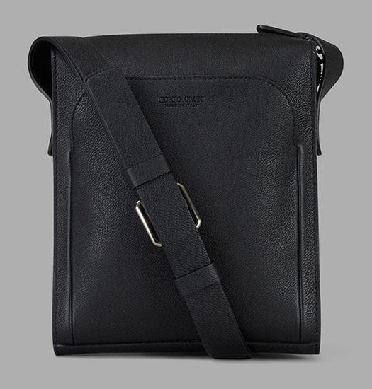 グレインレザー ショルダーバッグ 外ポケット付き