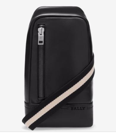 TANIS メンズ ブラック レザー スリングバッグ
