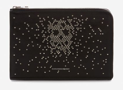 STUDDED SMALL ZIP LEATHER DOCUMENT HOLDER