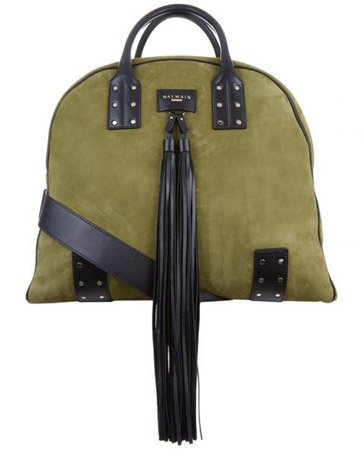 Green Nubuck Leather Tassel Holdall