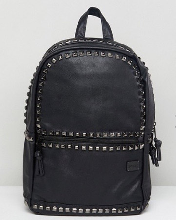 Spiral Luxe Studded Backpack in Faux Leather