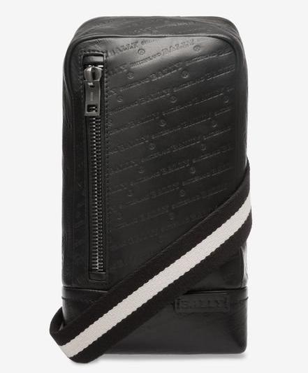 TANIS メンズ ブラック カーフレザー スリングバッグ
