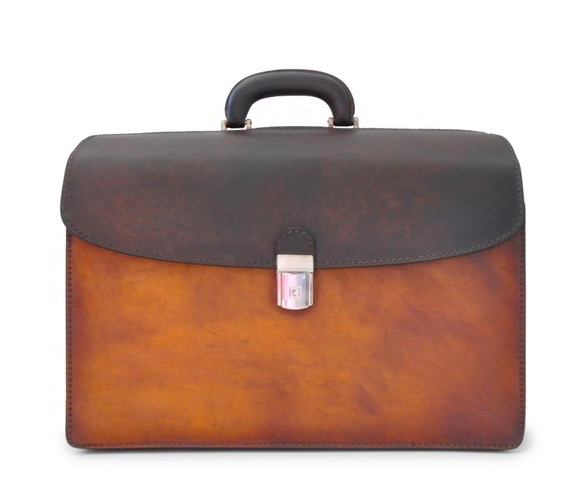 Accordion Italian Calf Leather Lawyer Briefcase