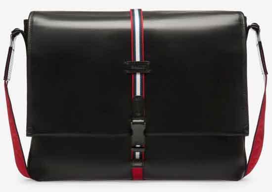 MAFEIS メンズ ブラック カーフレザー メッセンジャーバッグ