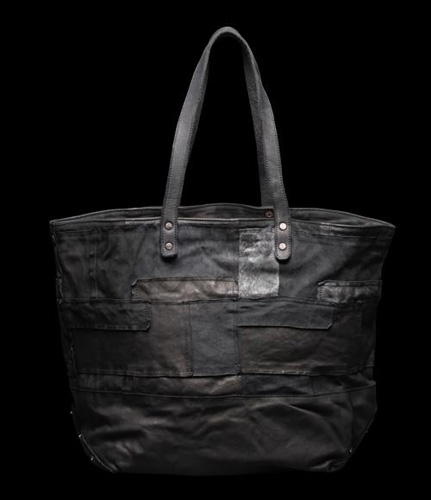 PATCHWORK TANNED-LEATHER GARMENT-DYED TOTE-BAG