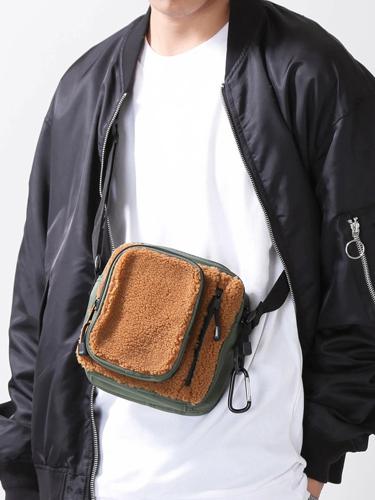 WEGO/ボアコンビマルチポケットショルダーバッグ