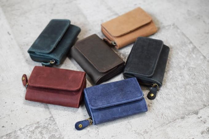 ミニレザーウォレット Brown 本革ミニ財布 三つ折りコンパクト