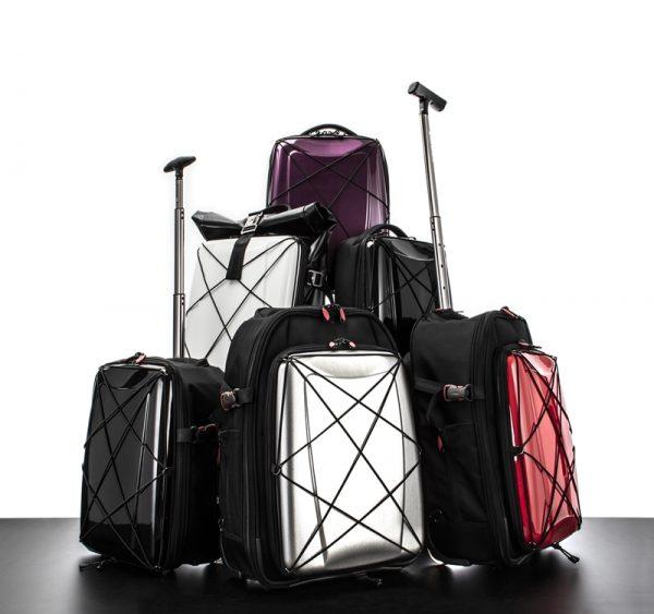 美しく大胆なラインが施されている、スーツケース