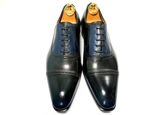 パティーヌ 革靴 6 25cm ダークブルー クォーターブローグ ストレートチップ