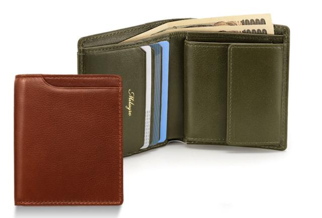 ミラグロ アニリンカーフスリム二つ折り財布