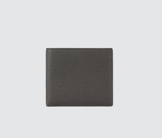 縦型二つ折りウォレット レザー製 エンボスロゴ入